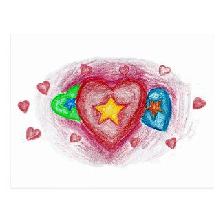 Crayon Hearts Postcard
