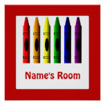 Crayon Kids Room Red Poster Template