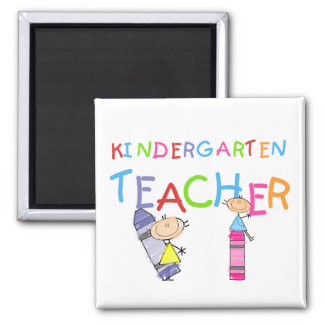 Crayon Kindergarten Teacher Tshirts and Gifts 2 Inch Square Magnet