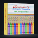 """Crayon Masterpieces 3 Ring Binder<br><div class=""""desc"""">The perfect organized way for any mom to save the most precious works of art from her little one! Customize the name,  grade and school year,  for a uniquely wonderful place to store all those precious works of art.</div>"""