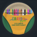 """Crayon Party Paper Plate<br><div class=""""desc"""">Crayon Party Plates. Designed with a crayon style box and a colorful rainbow of crayons. Additional crayon party supplies are available at Metro-Event.com and Metro-Events on Zazzle.</div>"""