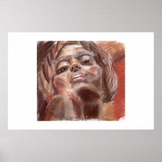 Crayon portrait print