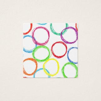 Crayon rainbow circle pattern square business card