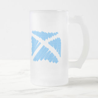Crayon Saltire Frosted Glass Beer Mug