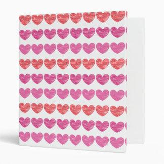 Crayon-Scribbled Hearts 3 Ring Binder