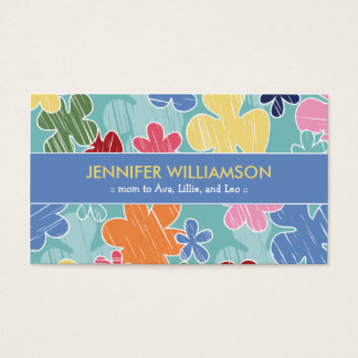 Crayon Sketch Mommy Calling Card (blue)