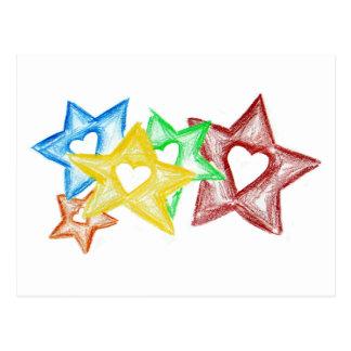 Crayon Stars Postcard
