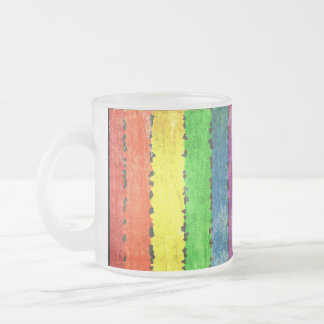 Crayon Style Rainbow Stripes Frosted Glass Coffee Mug