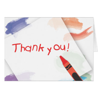 Crayon Thank You Card  |  Red