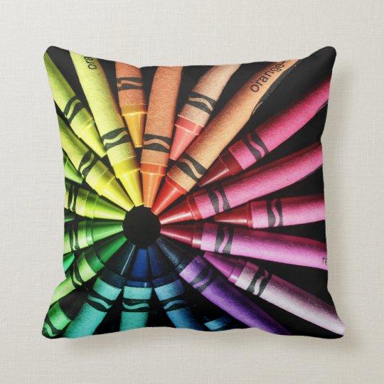 Crayon Wheel Throw Pillow