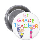 Crayons 1st Grade Teacher Tshirts and Gifts Buttons