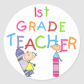 Crayons 1st Grade Teacher Tshirts and Gifts Classic Round Sticker