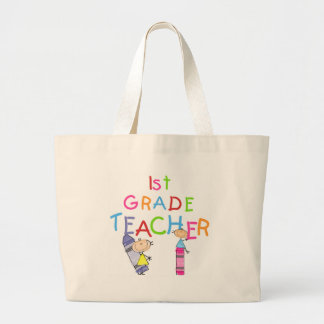 Crayons 1st Grade Teacher Tshirts and Gifts Large Tote Bag