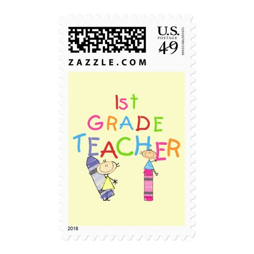 Crayons 1st Grade Teacher Tshirts and Gifts Postage Stamps