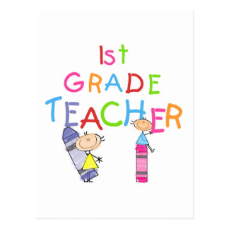 Crayons 1st Grade Teacher Tshirts and Gifts Postcard