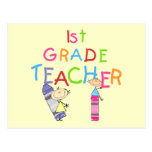 Crayons 1st Grade Teacher Tshirts and Gifts Postcards