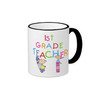 Crayons 1st Grade Teacher Tshirts and Gifts Ringer Coffee Mug