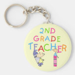 Crayons 2nd Grade Teacher Tshirts and Gifts Basic Round Button Keychain