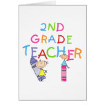 Crayons 2nd Grade Teacher Tshirts and Gifts Greeting Card