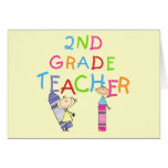 Crayons 2nd Grade Teacher Tshirts and Gifts Greeting Cards