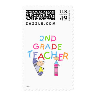 Crayons 2nd Grade Teacher Tshirts and Gifts Postage Stamp