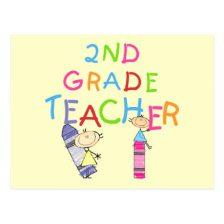 Crayons 2nd Grade Teacher Tshirts and Gifts Postcard