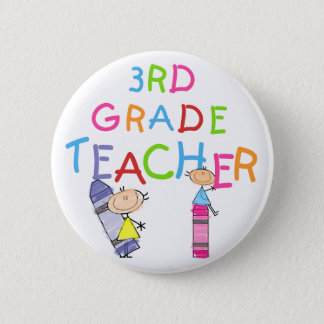 Crayons 3rd Grade Teacher Tshirts and Gifts Pinback Button