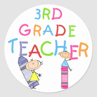 Crayons 3rd Grade Teacher Tshirts and Gifts Sticker