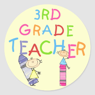 Crayons 3rd Grade Teacher Tshirts and Gifts Round Sticker