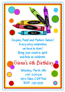 Craft party invitations zazzle crayons art paint craft birthday party invitations filmwisefo
