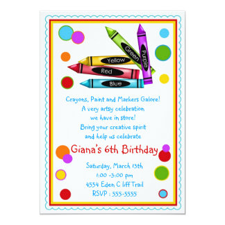 Crayons Art Paint Craft Birthday Party Invitations