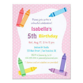 Crayons Arts and Crafts Kids Birthday Party 4.25x5.5 Paper Invitation Card