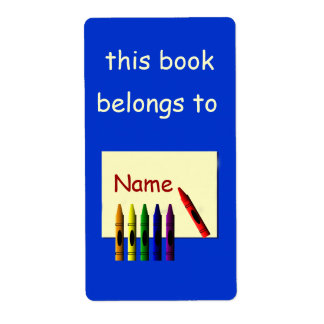 Crayons Color My Name Bookplate Label