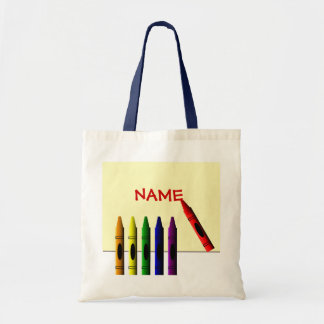 Crayons Color my Name Kids Tote Bag