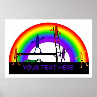 Crayons Coloring a Rainbow Poster Print