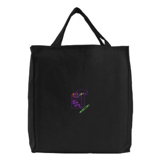 Crayons Embroidered Tote Bag