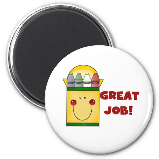Crayons Great Job 2 Inch Round Magnet