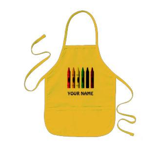 Crayons Name Crayon Kids Yellow Custom Apron
