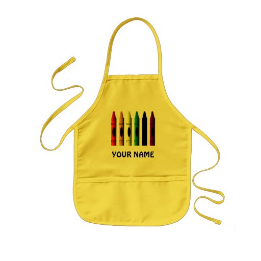 Crayons Name Kids Cute Yellow Apron