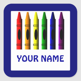 Crayons Name Template Blue Sticker
