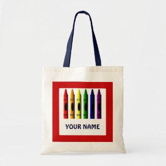 Crayons Name Template Red Tote Bag