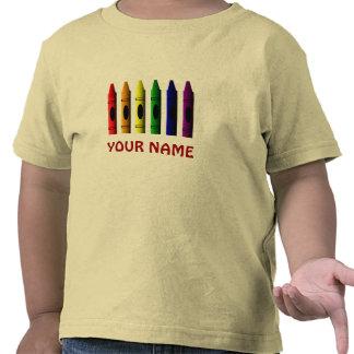 Crayons Name Template Toddler Yellow T-shirt