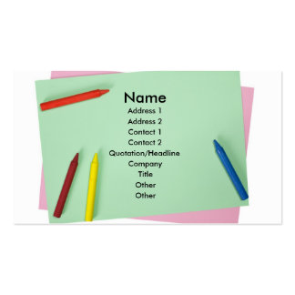 Crayons on colored papers business cards
