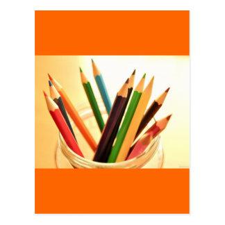 CRAYONS PENCILS COLORFUL JAR SCHOOL ART SUPPLIES P POSTCARD