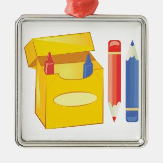 Crayons & Pencils Metal Ornament