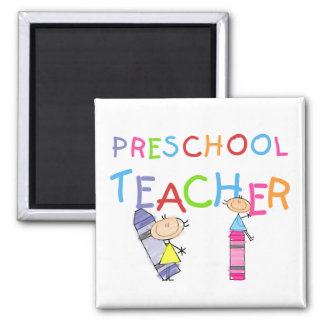 Crayons Preschool Teacher TShirts and Gifts 2 Inch Square Magnet