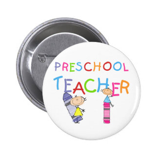 Crayons Preschool Teacher Tshirts and Gifts Button
