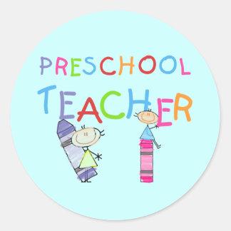 Crayons Preschool Teacher TShirts and Gifts Classic Round Sticker