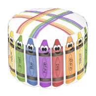 Crayons Round Pouf