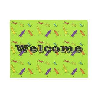 Crayons welcome mat